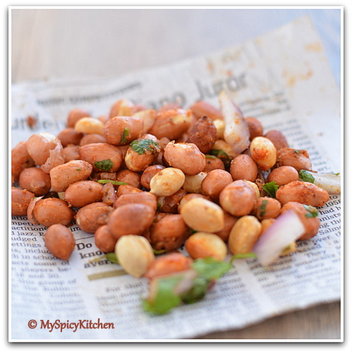 Roasted spicy peanuts aka peanut salad served in a paper,