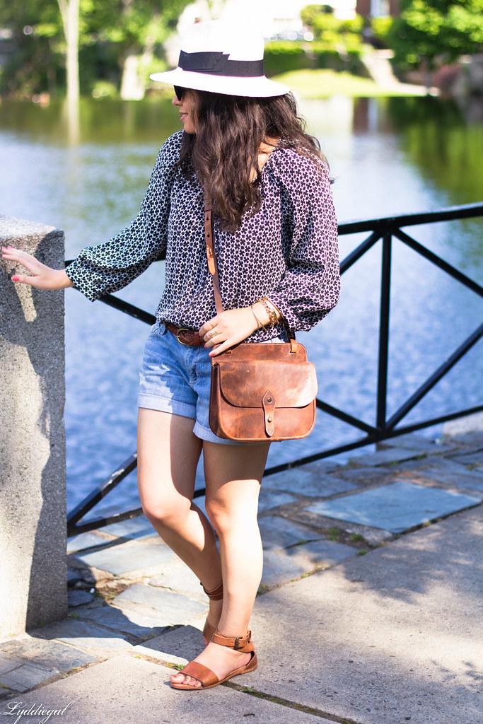denim shorts, bohemian blouse, trask bag-1.jpg