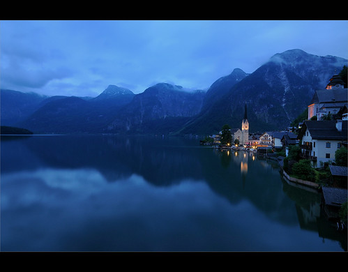 alps church reflections austria see unesco le bluehour hdr salzkammergut hallstatt kirch hdraward