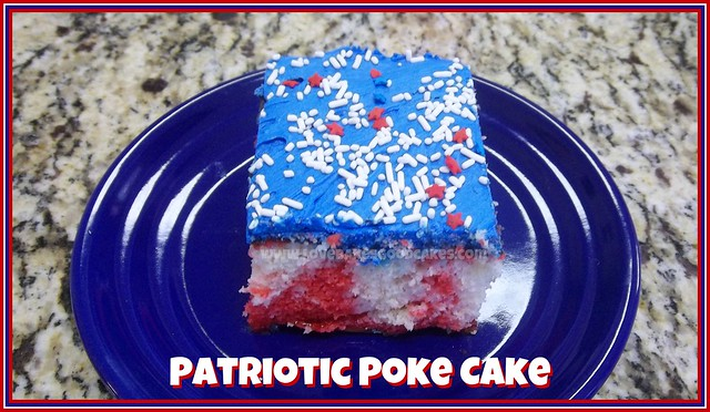 Patriotic Poke Cake on a blue plate.