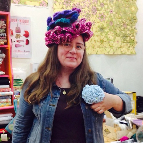 Work #selfie from yesterday. Crocheted flower hat & corsage.