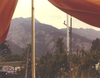 View of Swiss mountains out of tent