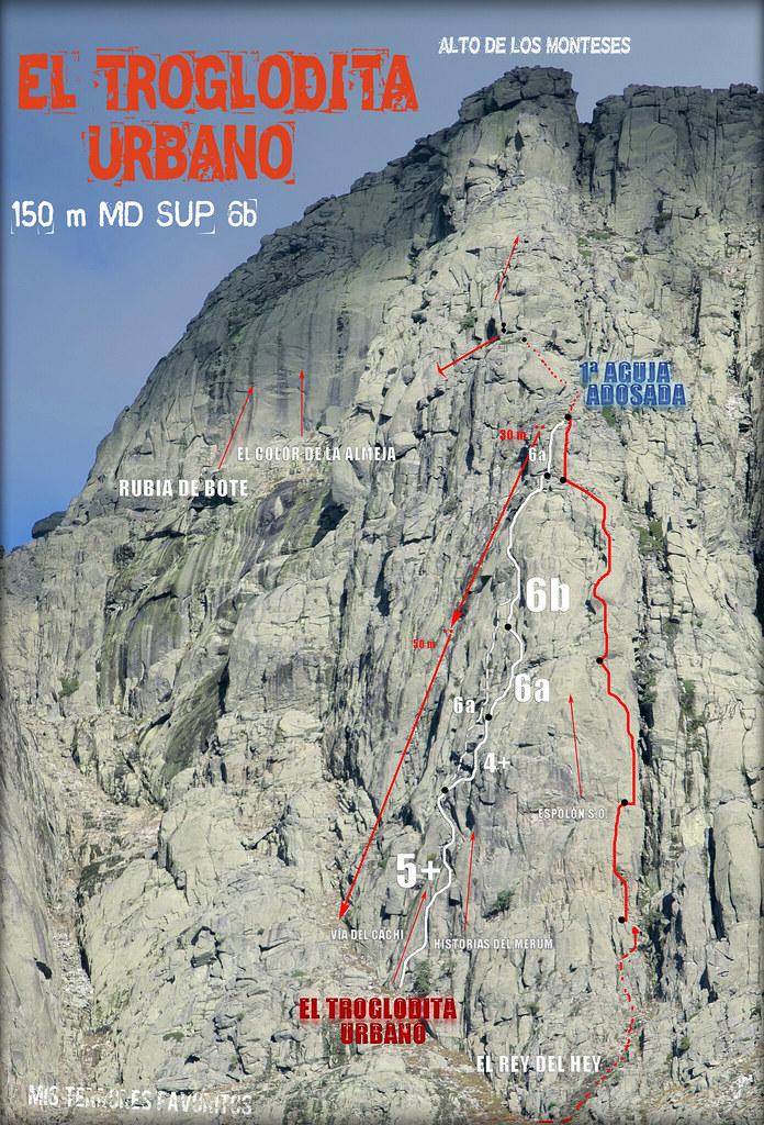 RESEÑA AGUJA ADOSADA TOROZO NORTE - EL TROGLODITA URBANO- 150 m MDsup 6b