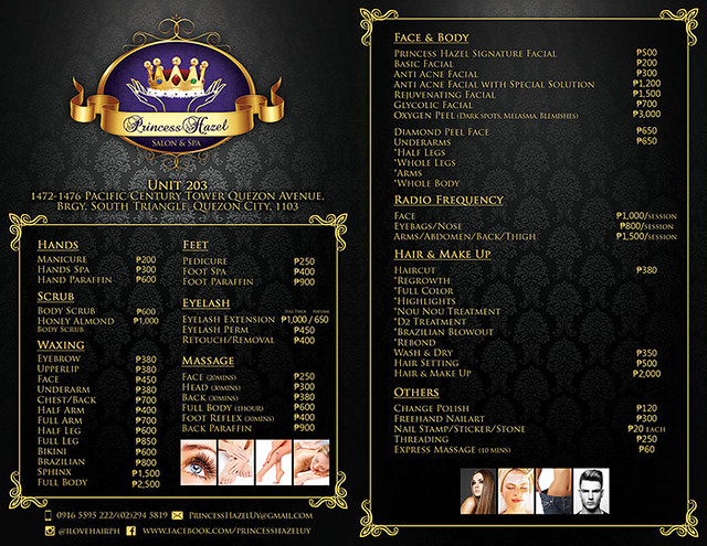 Princess Hazel Salon & Spa Pricelist