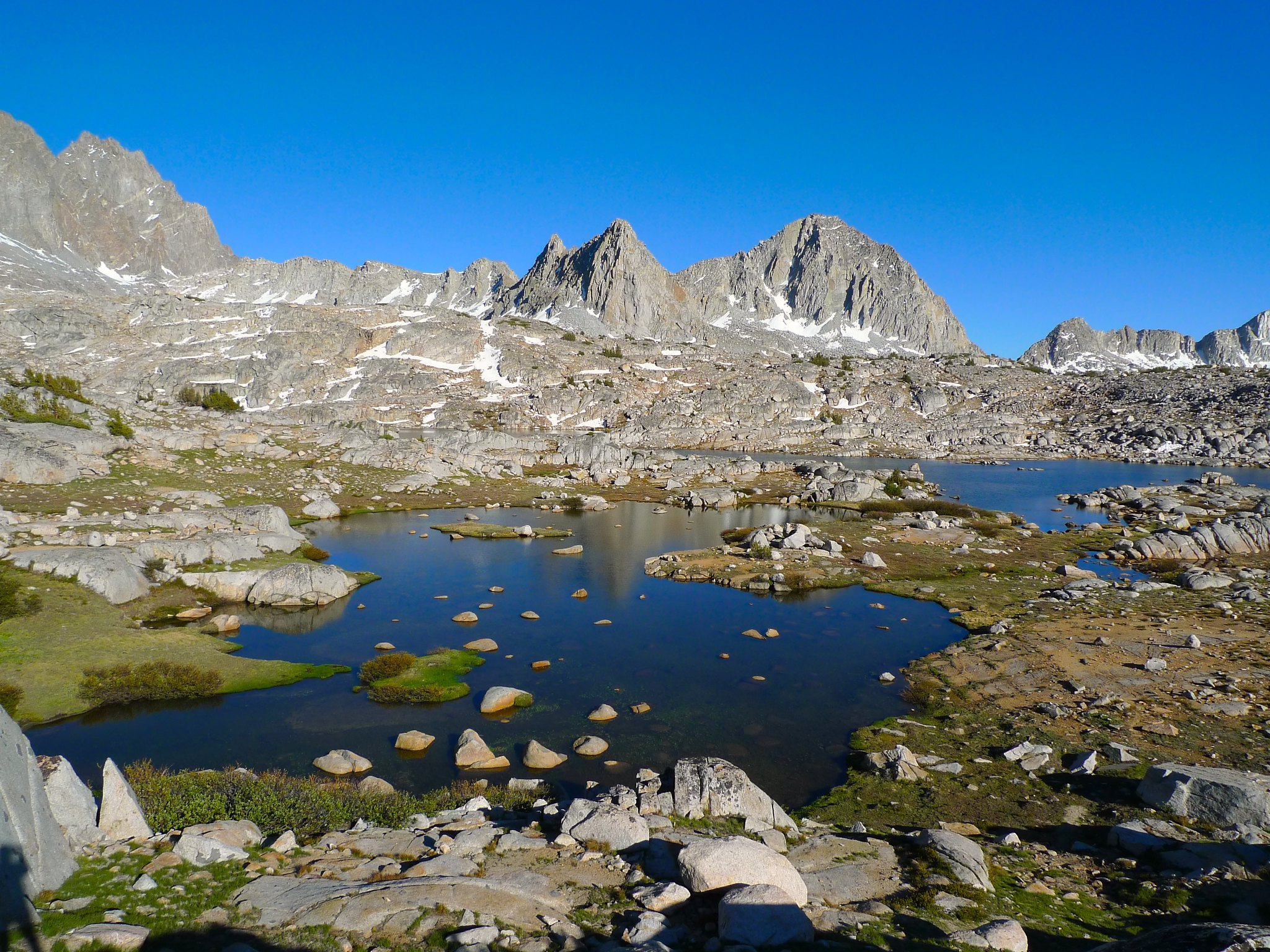 Isoceles and Columbine Peaks above the westernmost lake in upper Dusy Basin