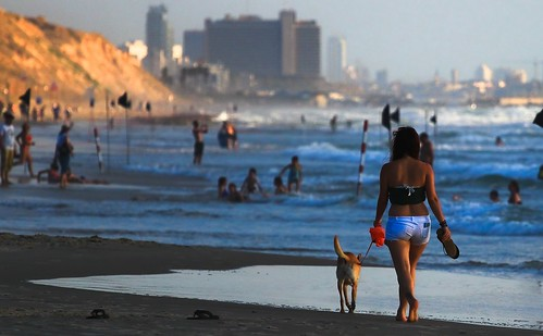 light sea people beach buildings waves seascapes walkingonthebeach goldenhours