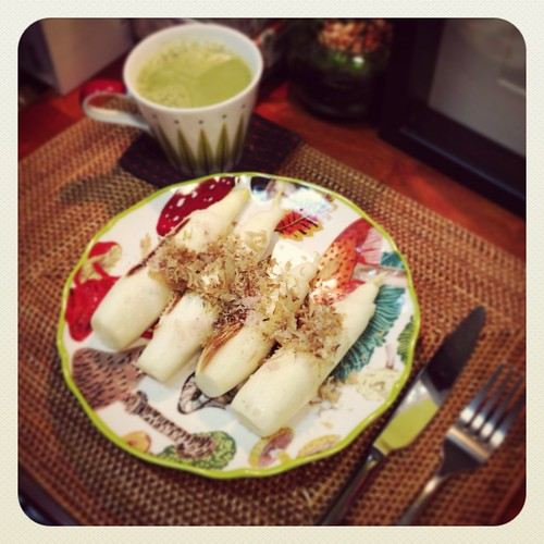 Wild rice stems, matcha latte