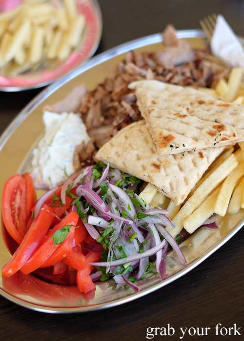 Gyros pork merides with chips, salad, tzatziki and pita at Traditional Gyradiko, Bexley