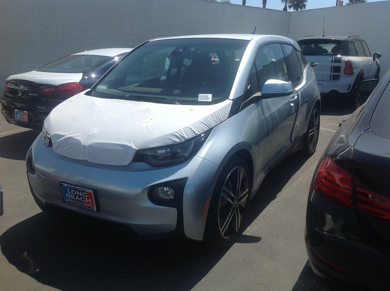 Our EE .@BMWi i3 has finally arrived at the dealership as we leave on a trip.  A decision when we return.
