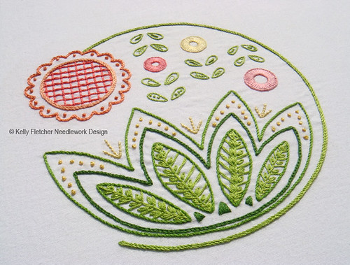 Sweetsong, a Modern Jacobean hand embroidery pattern