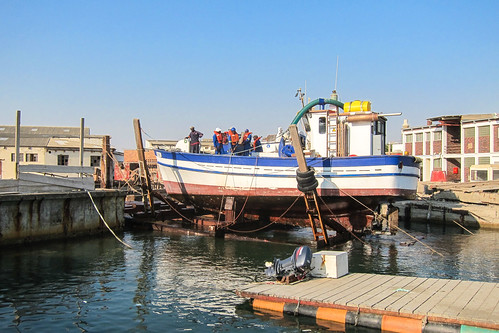 Diamond mining boat at port, Lüderitz, Namibia