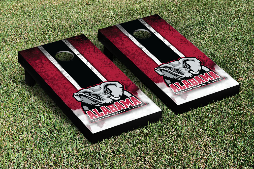 Alabama Crimson Tide Cornhole Game Set Grunge V2