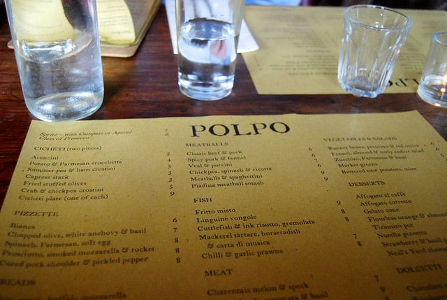 Menus at Polpo Notting Hill