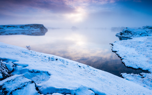 travel winter sunset sky cloud lake snow ice nature water fog reflections season landscape iceland twilight europe dusk foggy nordic hazy northeast ísland halflight mývatn republicoficeland lakemývatn norðurlandeystra lýðveldiðísland northeasternregion