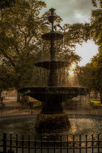park sunset water fountain mobile