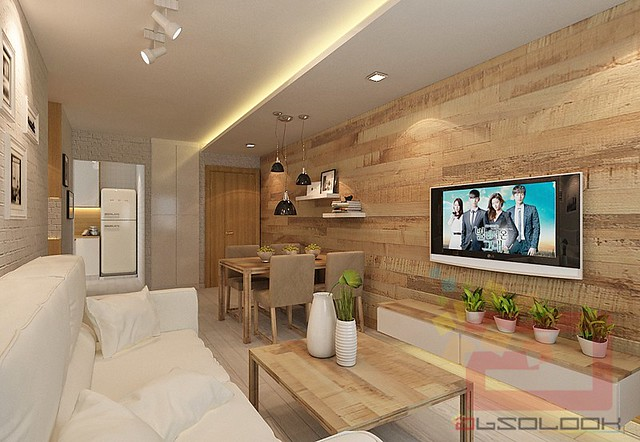 Hdb bto 4 room scandinavian blk 308a punggol waterway for Living room interior design singapore