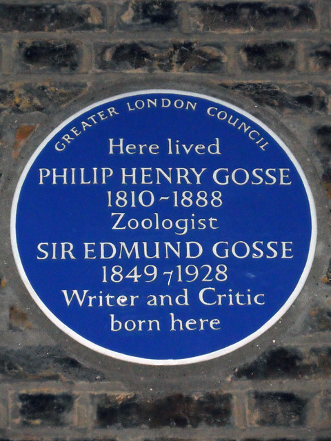 Philip Henry Gosse and Edmund Gosse blue plaque - Here lived Philip Henry Gosse 1810-1888  zoologist Sir Edmund Gosse 1849-1928  writer and critic born here
