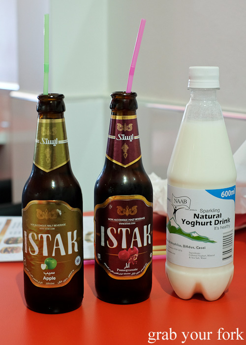 Istak non-alcoholic malt beverages and sparkling natural yoghurt drink at Aria Persian Fast Food, Merrylands