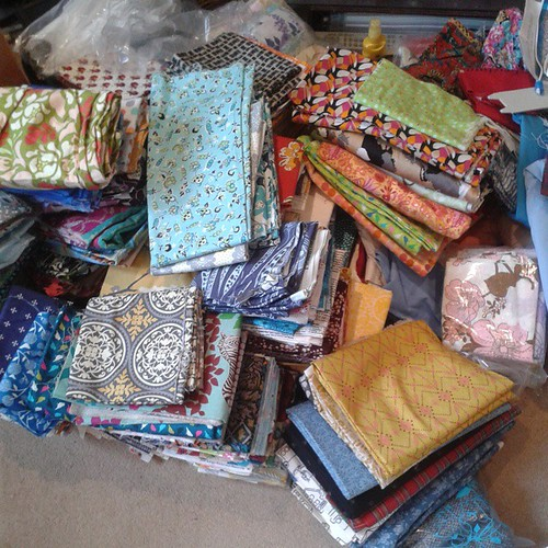 Fabric drawers emptied onto living room floor! Big sort out coming on!