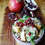 Quinoa salad with za'atar tofu and aubergine
