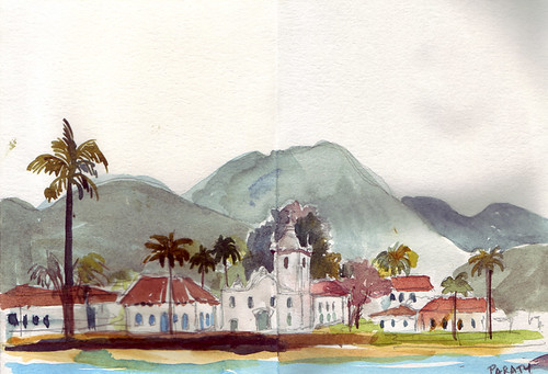 Sketch from the kayak, Paraty, Brazil