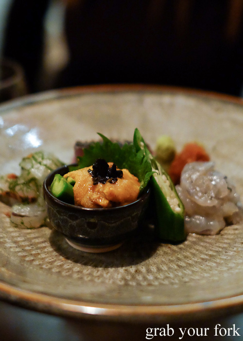 Uni sea urchin roe with truffle at Chaco Bar, Darlinghurst