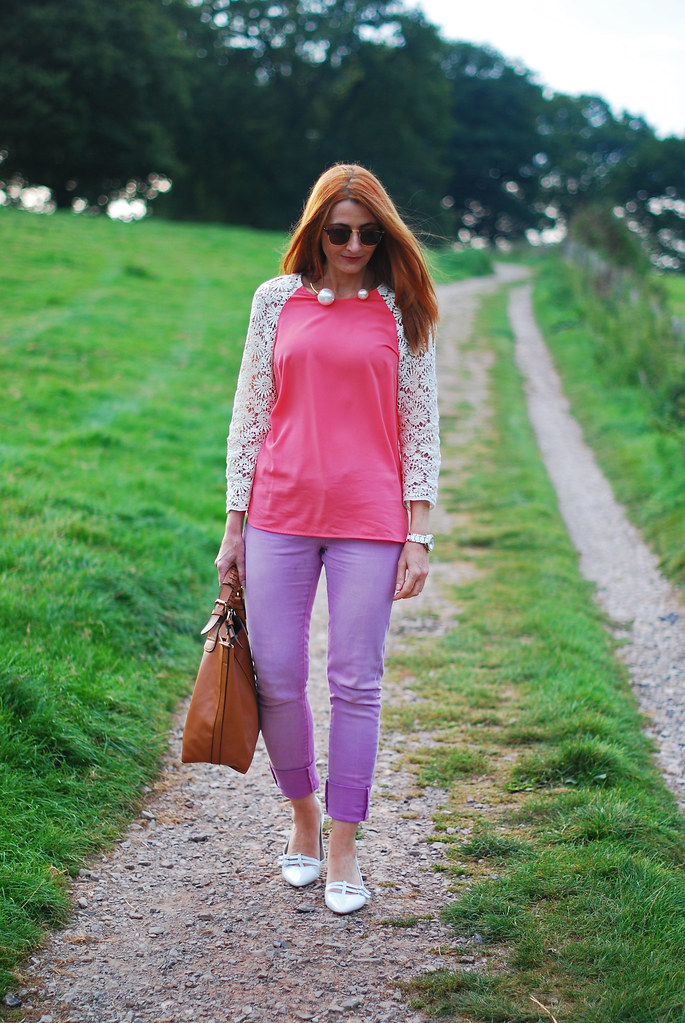 Lace sleeved top and lilac jeans