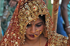 India-bride at Ganges ghat of Varanasi