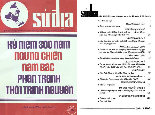 Tập san Sử Địa - Số 26 – Tháng 1, 2, 3-1974 - Kỷ niệm 300 năm ngưng chiến Nam - Bắc phân tranh thời Trịnh Nguyễn