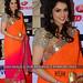 Orange Pink Plain Padding Georgette Saree With Blouse Sarees on Shimply.com