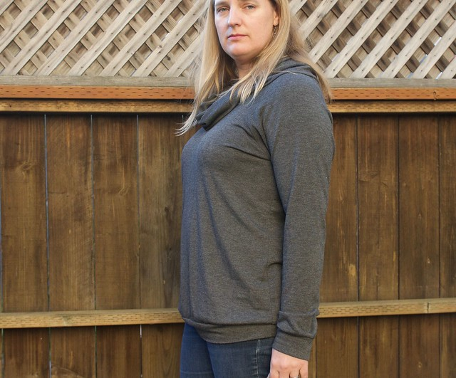 grey cowl neck Lane Raglan sideview