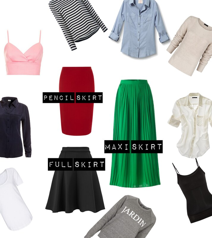 button ups, camisoles, crop top, chambray, stripes, sweaters, sweatshirts, maxi skirt, full skirt, pencil skirt,