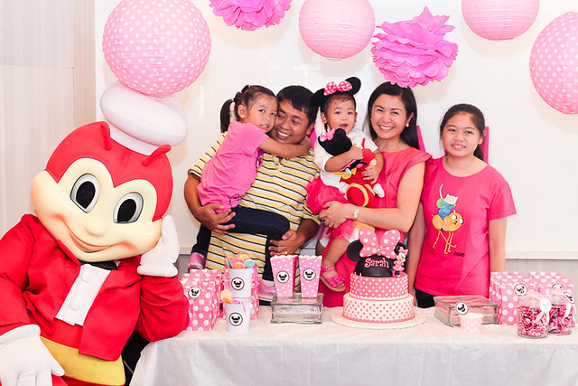 Sarah and her family with Jollibee