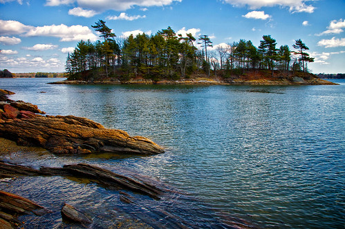 ocean park trees sea cloud reflection neck island coast woods shadows state maine evergreen shore geology wolfes