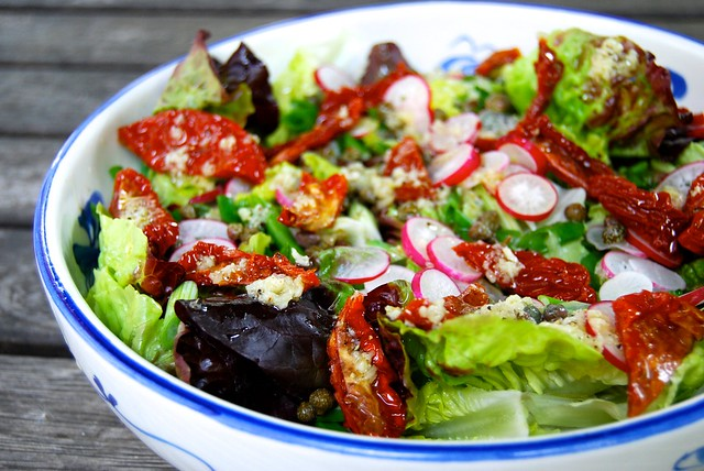 Radish, Caper & Semi-dried Tomato Salad with Homemade Lemon Garlic Dressing 2