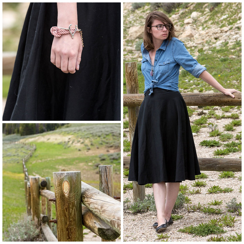 wyoming, black skirt, chambray, popbasic, big horn, mountains, withoutastyle, never fully dressed,