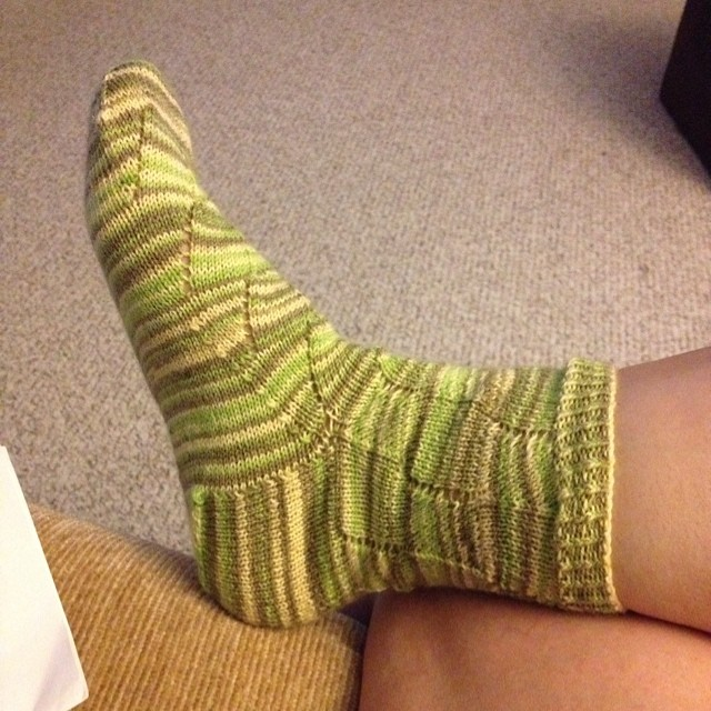 I finished knitting my first sock!