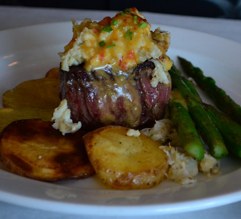 Crab-Topped Filet with Potatoes and Asparagus