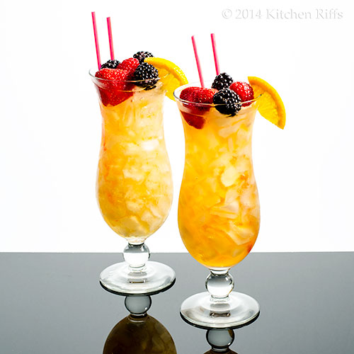 Sherry Cobbler Cocktails with fruit garnish