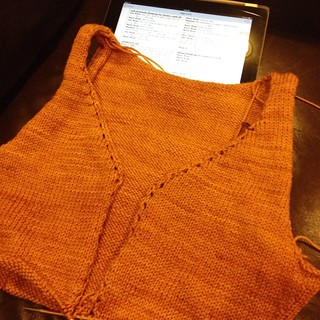 Progress on my #myrnacardigan. I'm just about to start the bottom band. Love how this is knitting up so quickly. #myrna #oal2014