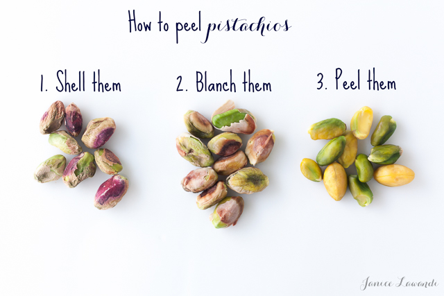 The 3 stages of peeling pistachios: 1st shell them; 2nd blanch them; 3rd peel them to reveal the green nuts