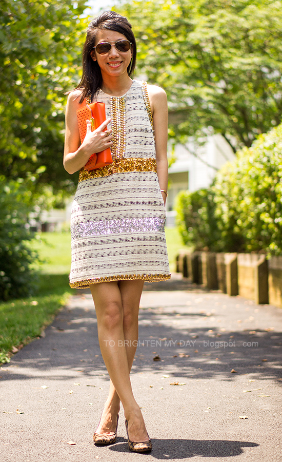 sequins + tweed dress, orange clutch, leopard pumps