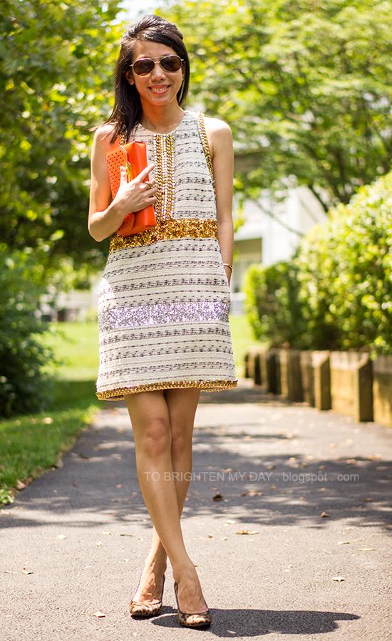 sequins + tweed dress, orange clutch, leopard pumps