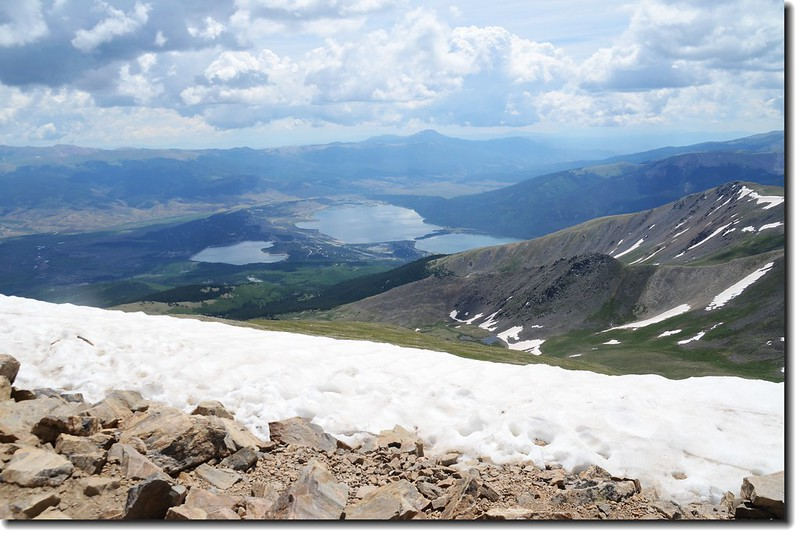 Looking down at Twin Lakes from Mt. Elbert