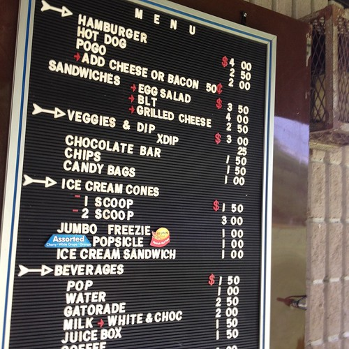 Snack bar menu at Robert Simpson Park, Arnprior