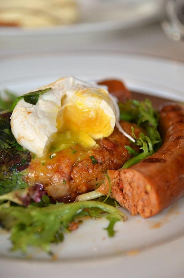 Poached Egg, Chorizo Sausage, Potato Rosti
