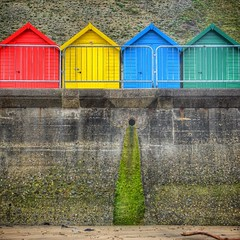 Beach huts in Whitby all in a row. They look like Monopoly houses... Photo by @tlpritchett, my edit.