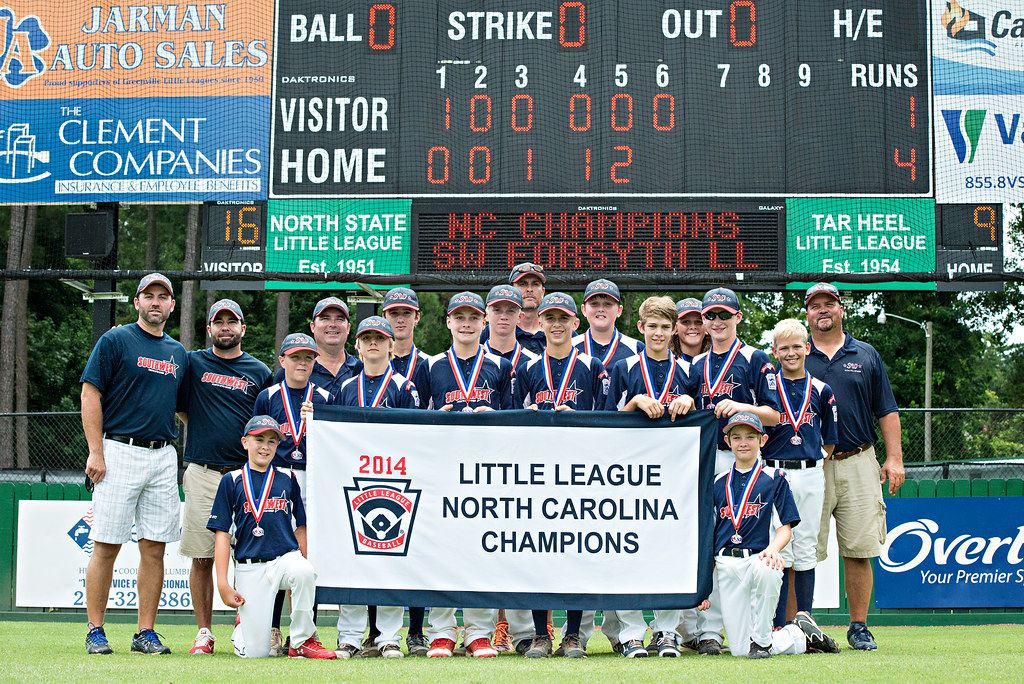Team with banner by scoreboard