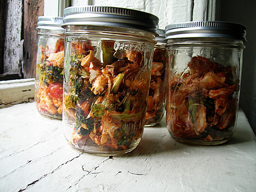 warm chicken and roasted broccoli and tomato jars