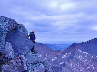 Helen Scrambling on Gladstone Peak North Ridge